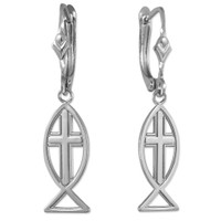 White Gold Cross Ichthus Earrings