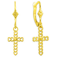 Gold Four Leaf Clover  Cross Dangle Earrings