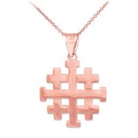 """Polished Rose Gold Jerusalem """"Crusaders"""" Cross Pendant Necklace"""