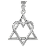 """925 Sterling Silver Star of David Heart Large Pendant (1.4"""")"""