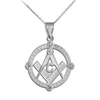 Sterling Silver Freemason Round Masonic CZ Pendant Necklace