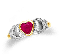 Gold Baby Two-Tone Ruby Ring