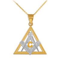 Two-Tone Gold Triangle Freemason Diamond Masonic Pendant Necklace