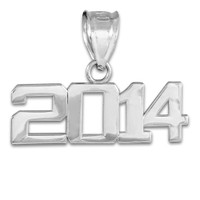White Gold 2014 Class Graduation Charm Pendant
