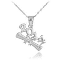 2014 Graduation Silver Charm Pendant
