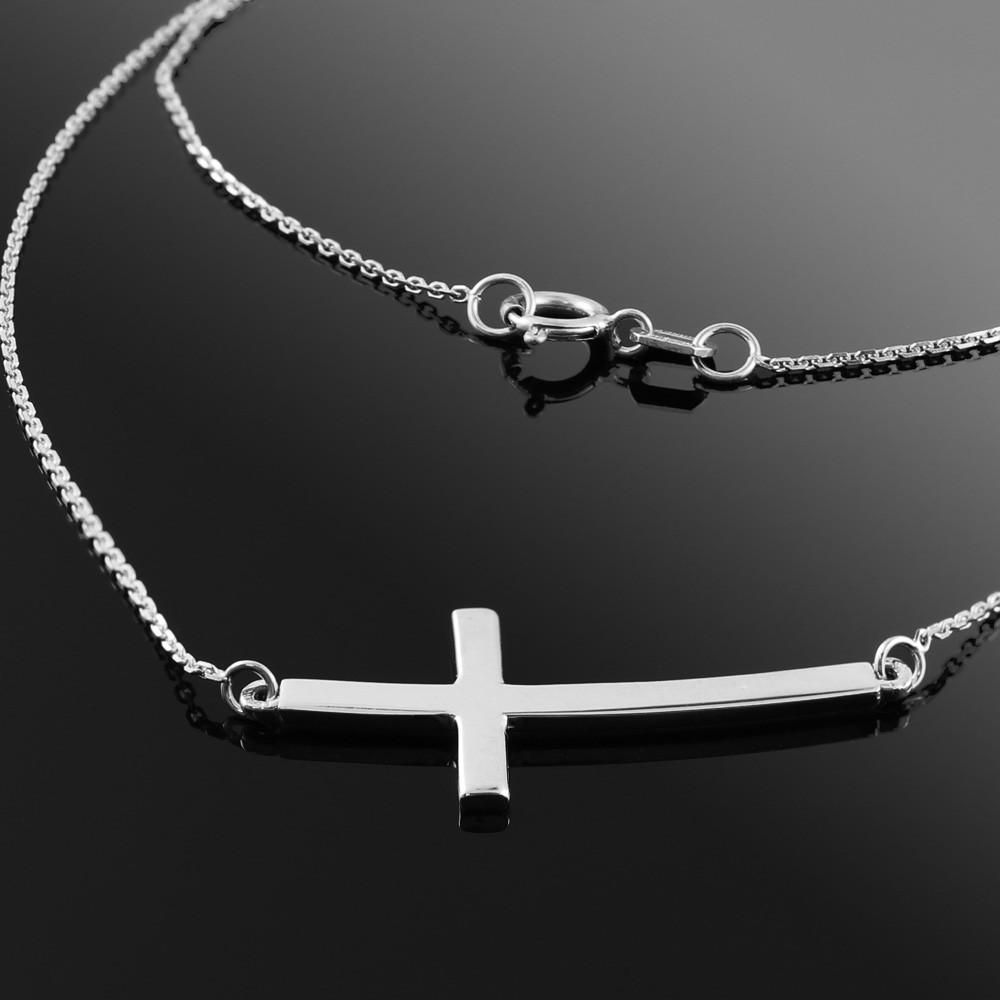 Sideways Curved Cross Necklace: Silver Sideways Curved Cross Necklace