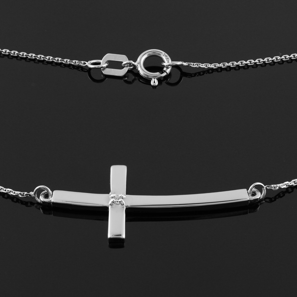 Sideways Curved Cross Necklace: 925 Sterling Silver Small Sideways Curved Diamond Cross