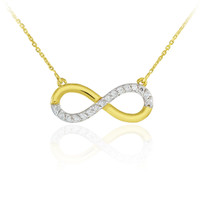 14K Gold Infinity Pendant Necklace Polished with Diamonds