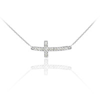 14K White Gold Sideways Curved CZ Cute Cross Necklace