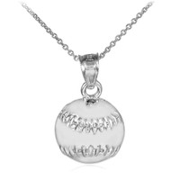 White Gold Baseball/Softball Charm Sports Pendant Necklace