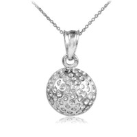 Golf Ball Silver Charm Sports Pendant Necklace