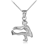 Ice Skater Silver Charm Pendant Necklace