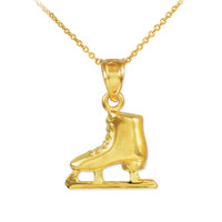 Gold Ice Skate Charm Necklace