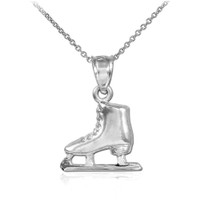 White Gold Ice Skate Charm Necklace