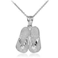 White Gold Flip Flops 3D Charm Pendant Necklace
