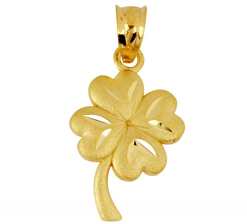 14k Yellow Gold Shamrock Clover Pendant