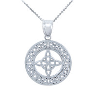 White Gold Round Trinity Knot Pendant Necklace