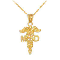 Gold Medical Doctor MD Caduceus Charm Pendant Necklace