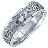 14k White Gold Celtic Claddagh Wedding Band 7MM