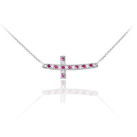 Sterling Silver Cute Red and Clear CZ Sideways Curved Cross Necklace