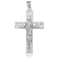 Silver CZ Crucifix Pendant