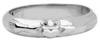 White Gold Claddagh Wedding Band Ring