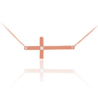 14K Solid Rose Gold Sideways Diamond Cross Necklace