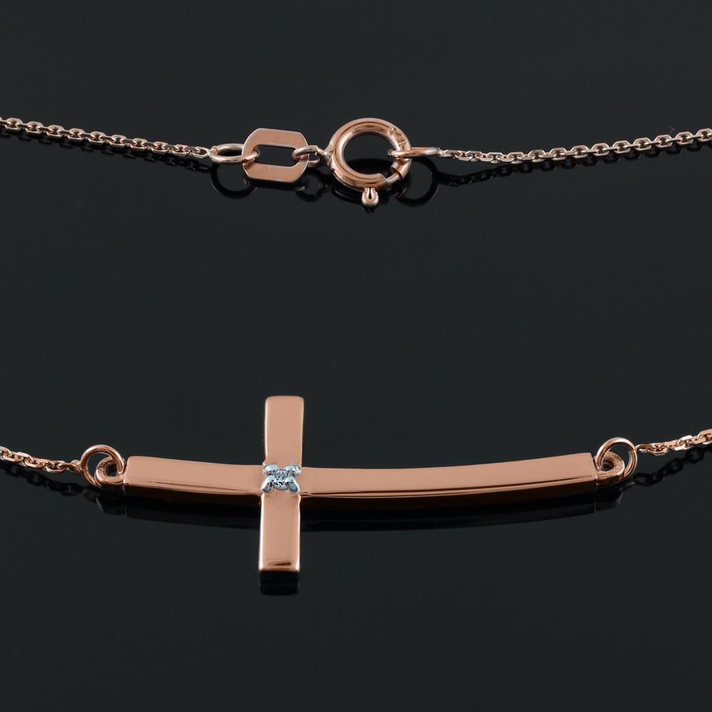 Sideways Curved Cross Necklace: 14K Rose Gold Sideways Curved Diamond Cross Necklace