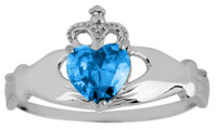 White Gold Claddagh Ring Ladies with Aquamarine Birthstone.  Available in your choice of 14k or 10k White Gold.