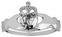 White Gold Claddagh Ring Ladies with white Cubic Zirconia Birthstone.  Available in your choice of 14k or 10k White Gold.