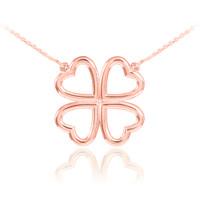 Four-leaf clover necklace in 14k rose gold.