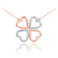 Four-leaf clover necklace in 14k rose and white gold.