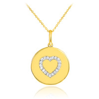 Heart disc pendant necklace with diamonds in 14k gold.