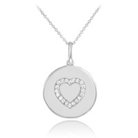 Heart disc pendant necklace with diamonds in 14k white gold.