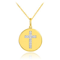 Cross disc pendant necklace with diamonds in 14k gold.