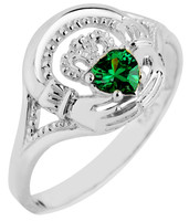 White Gold Claddagh Ladies Ring with Emerald CZ