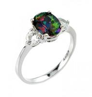 Ladies white and mystic topaz gemstone ring in 10k or 14k white gold.