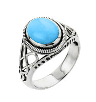 White Gold Trinity Knot Turquoise Ring
