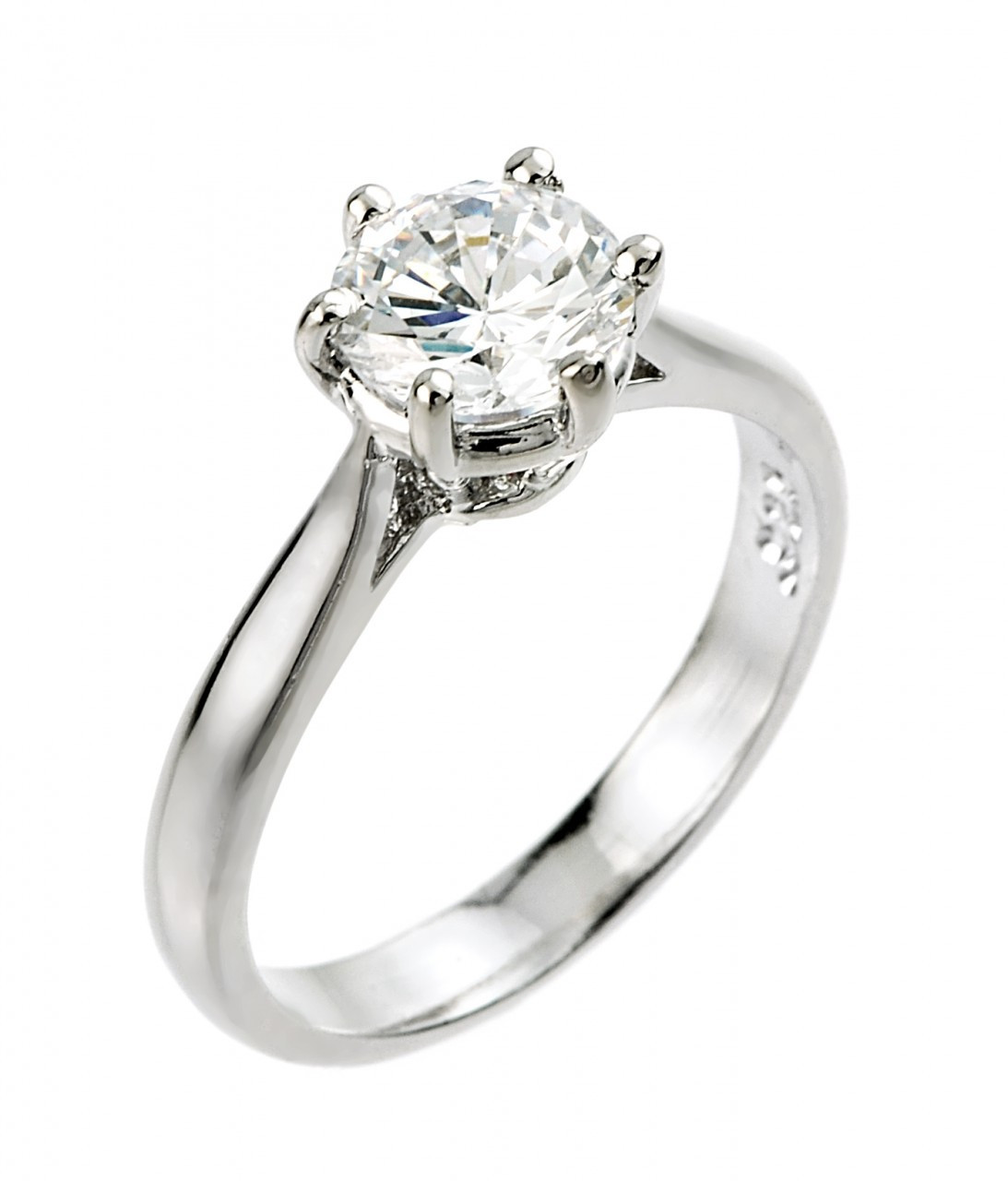 Women 7.5mm 14K White Gold 1.5 Carat Round CZ Solitaire Wedding Engagement Ring