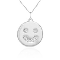 Smiley face disc pendant necklace with diamonds in 14k white gold.