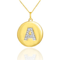 """Letter """"A"""" disc pendant necklace with diamonds in 10k or 14k yellow gold."""