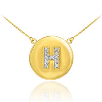 """Letter """"H"""" disc necklace with diamonds in 14k yellow gold."""