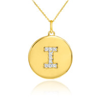 "Letter ""I"" disc pendant necklace with diamonds in 10k or 14k yellow gold."