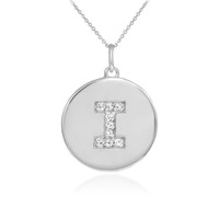 "Letter ""I"" disc pendant necklace with diamonds in 10k or 14k white gold."