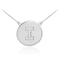 "Letter ""I"" disc necklace with diamonds in 14k white gold."