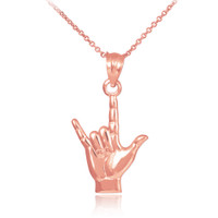 "Rose Gold ""Hang Loose"" Charm Pendant Necklace"