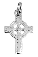 White Gold Celtic Irish Cross Pendant