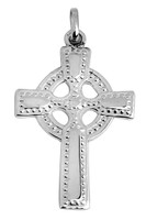 White Gold Celtic Polished Cross