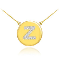 "14k Gold Letter ""Z"" Initial Diamond Disc Necklace"