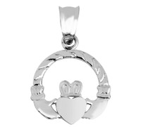 White Gold Claddagh Irish Pendant